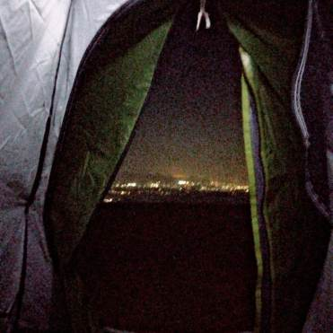 Night view from inside the tent