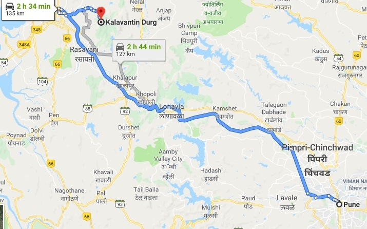 Pune to kalavantin route